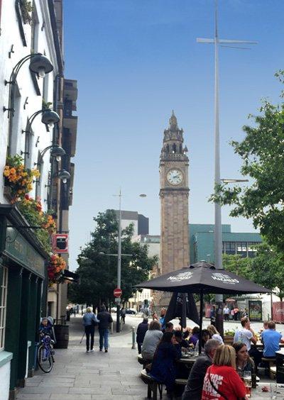 Belfast Street with Out door bar and St Albert's Clock