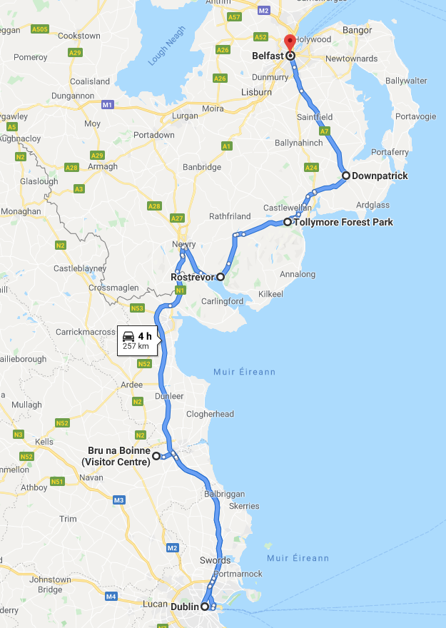 Dublin to Belfast Scenic Driving Route